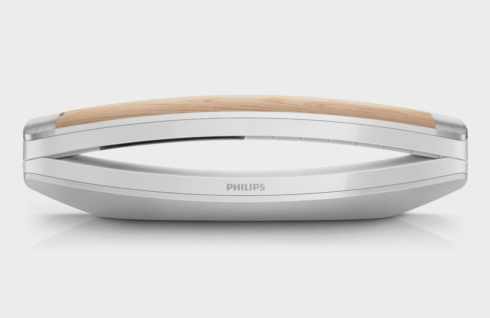 Philips-M8881W10-Design-Telefon-Anrufbeantworter-Weiss-Schwarz-Holz-4
