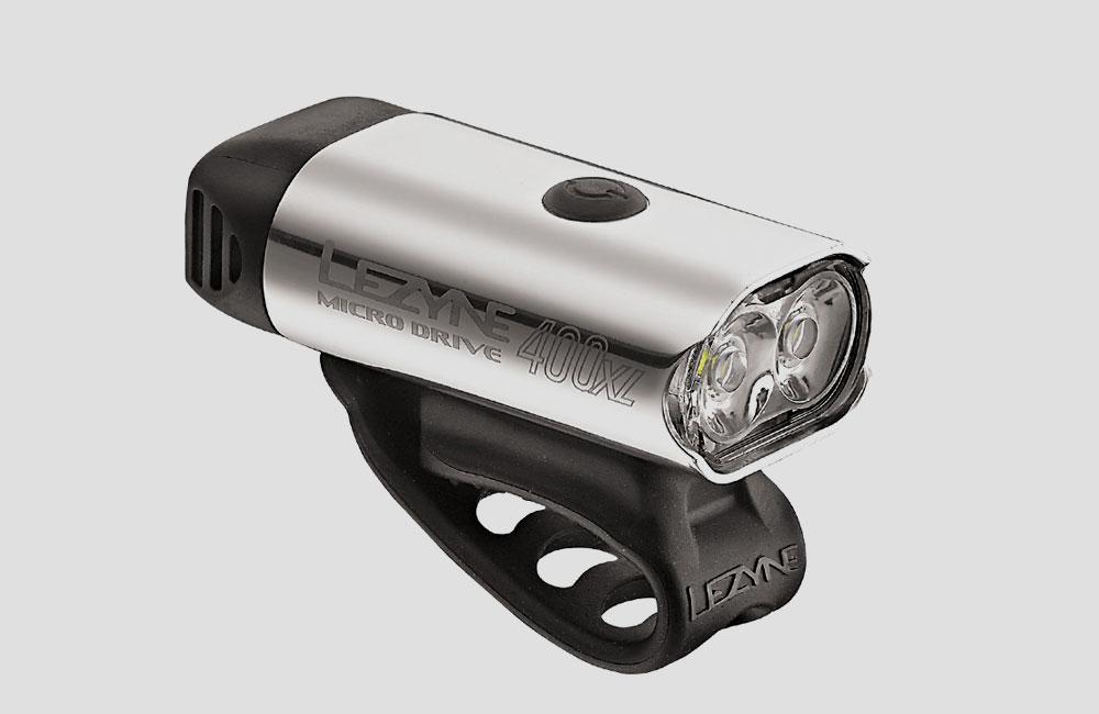 Lezyne-Micro-Drive-XL-Front-Fahrrad-Scheinwerfer-Akku-Licht-Design-400-Lumen-Silber-USB