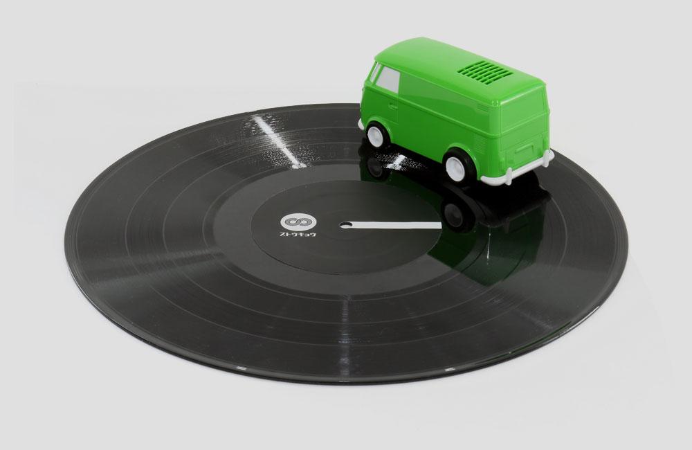 Record-Runner-VW-Bus-Auto-Mini-Mobil-Plattenspieler-Lautsprecher-Vinyl-Killer-2