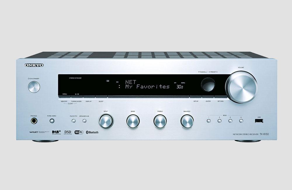 Onkyo-TX-8150-HiFi-Stereo-Receiver-DAB-Bluetooth-AirPlay-Silber