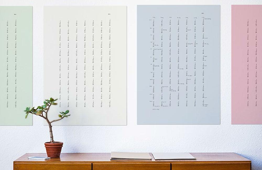 Minimalistische poster und kalender von studio una unhyped.