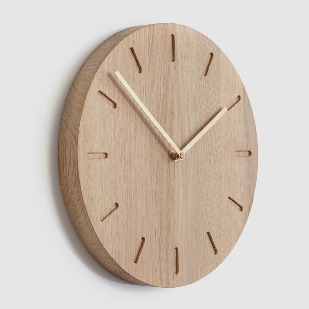 Applicata-Watch-Out-Wanduhr-Holz-Eiche