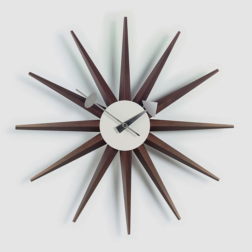 Vitra-Sunburst-Clock-Wanduhr-Walnuss-Holz
