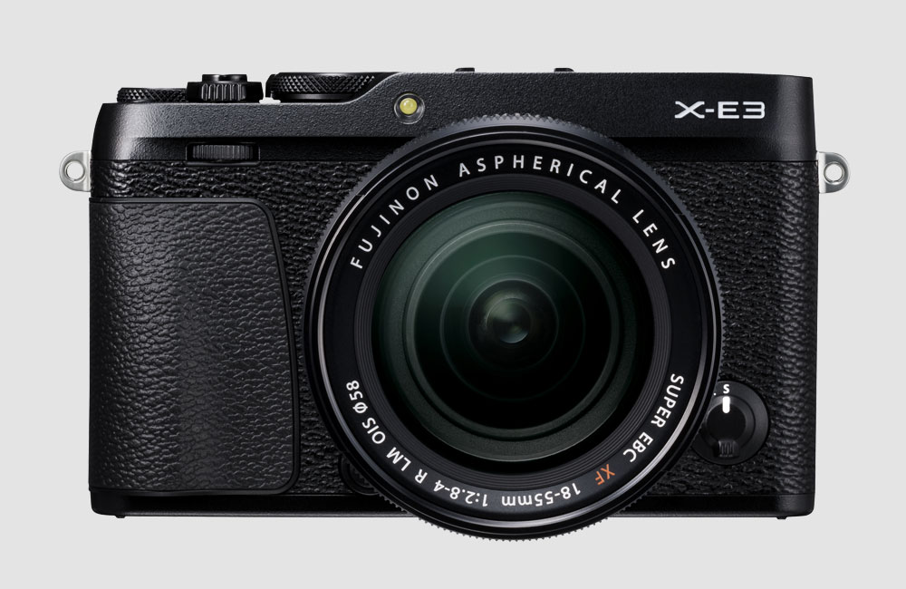 Fujifilm-X-E3-Spiegellose-Kompakt-Kamera-Retro-Design-Bluetooth-Touchscreen-Schwarz-Front