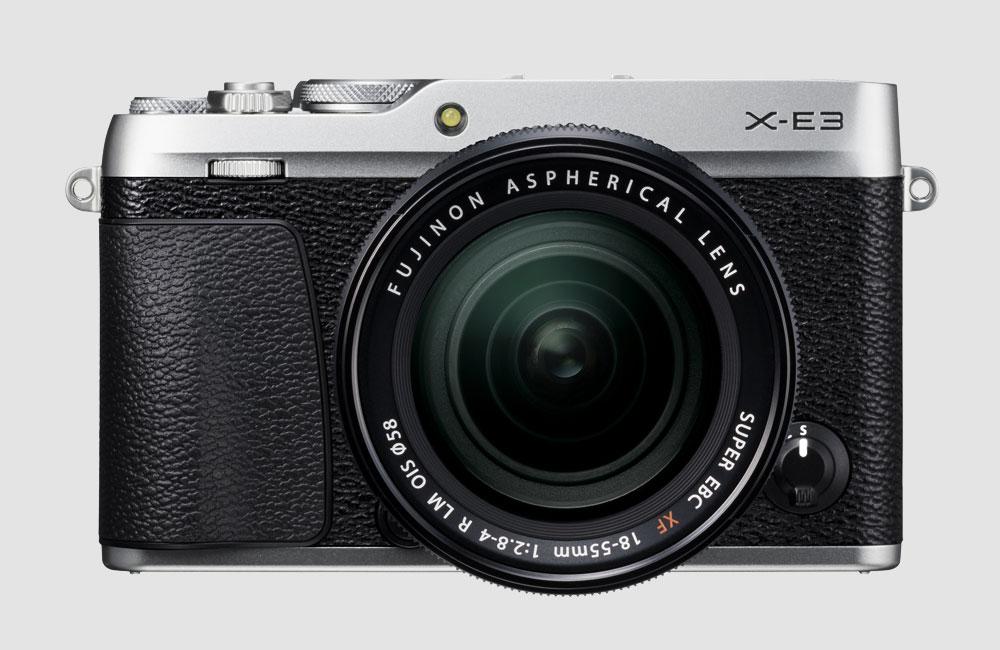 Fujifilm-X-E3-Spiegellose-Kompakt-Kamera-Retro-Design-Bluetooth-Touchscreen-Silber-Front