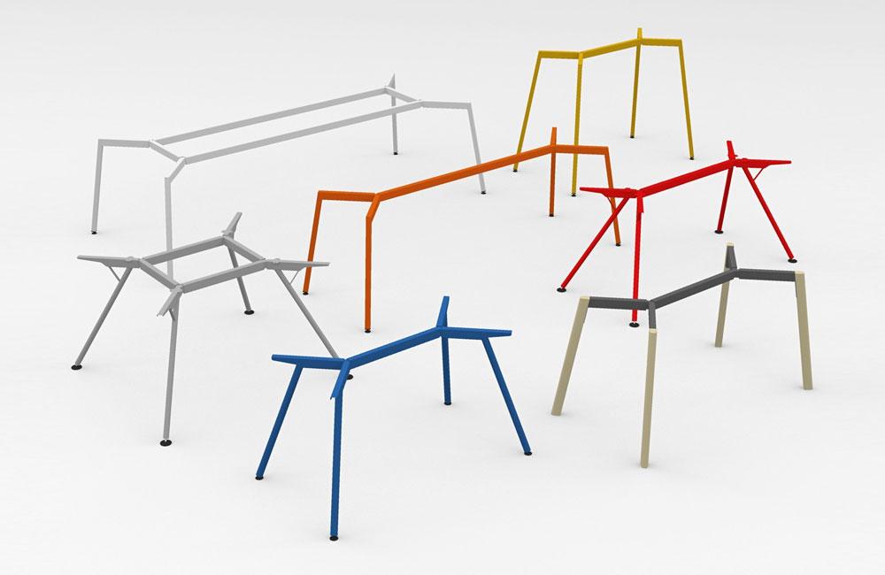 Individuelle-Schreibtische-Arbeitstische-Design-Tischgestell-Bunt-Farbig